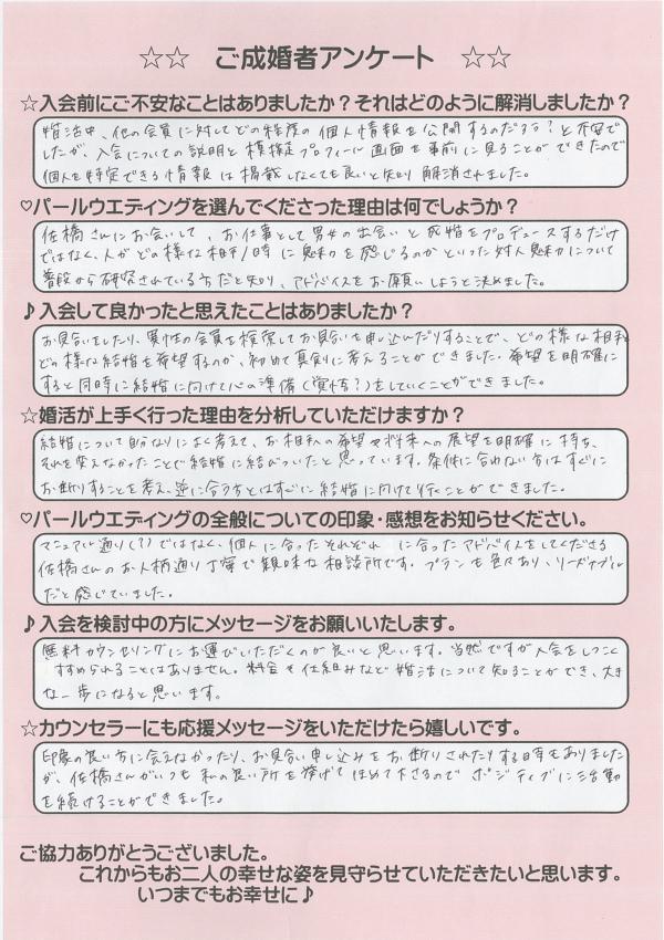 結婚相談所 東京 渋谷 20代 女性 成婚者アンケート